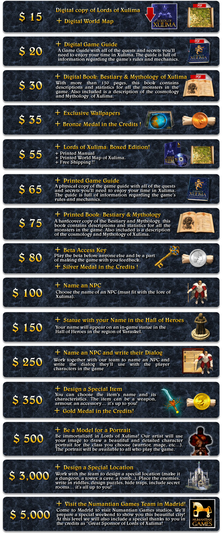 Lords of Xulima - Backer Rewards